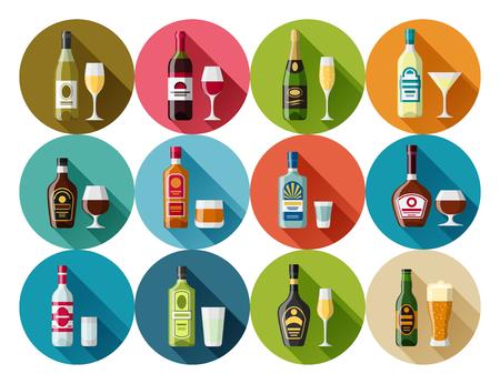 alcoholic: Alcohol drinks icon set. Bottles, glasses for restaurants and bars. Illustration