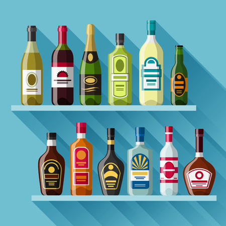 liquors: Alcohol drinks background design. Bottles for restaurants and bars.