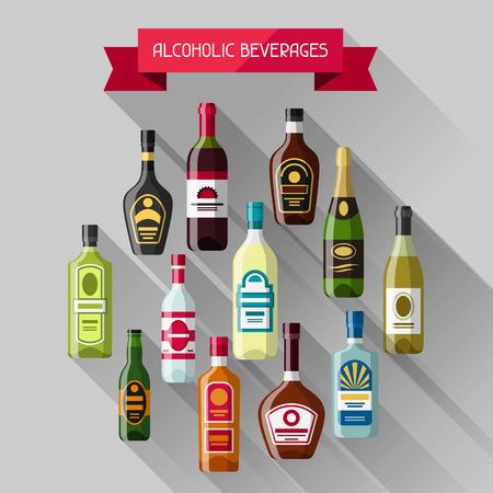wines: Alcohol drinks background design. Bottles for restaurants and bars.