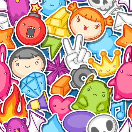 kids background: Game   seamless pattern. Cute gaming design elements, objects and symbols. Illustration