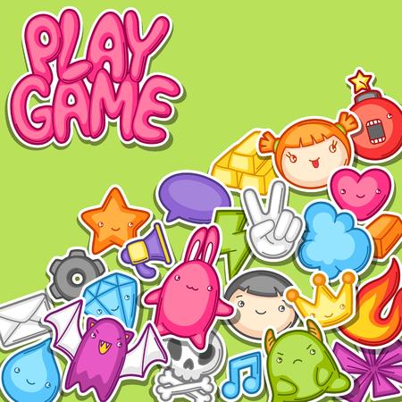 Coleccion De Juegos Kawaii Elementos De Diseno De Juegos Lindo
