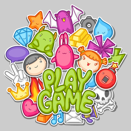 fire skull: Game kawaii design. Cute gaming elements, objects and symbols.