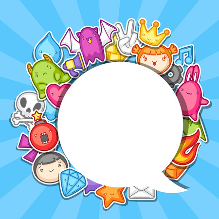 Game background. Cute gaming design elements, objects and symbols. Illustration