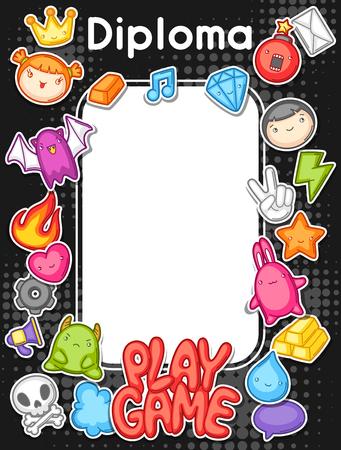 Game kawaii diploma. Cute gaming design elements, objects and symbols. Illustration