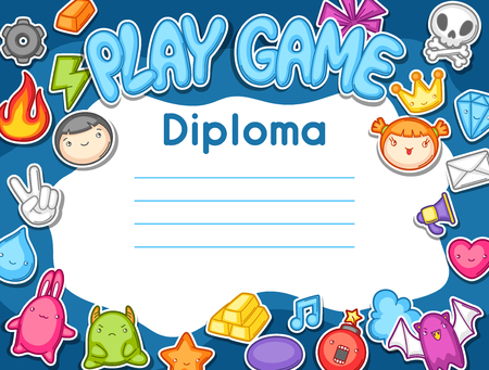design objects: Game   diploma. Cute gaming design elements, objects and symbols.