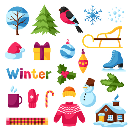 Set of winter objects. Merry Christmas, Happy New Year holiday items and symbols.