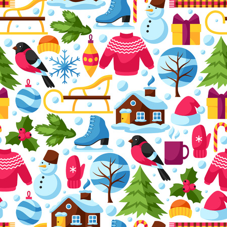 sueter: Seamless pattern with winter objects. Merry Christmas, Happy New Year holiday items and symbols.