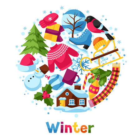 winter holiday: Background with winter objects. Merry Christmas, Happy New Year holiday items and symbols.