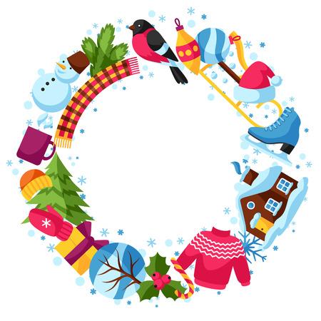 Rám se zimními objekty. Veselé Vánoce, Happy New Year dovolenou položky a symboly. Ilustrace