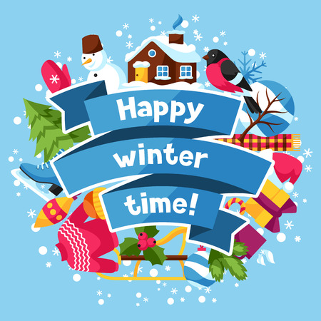 time of the year: Happy winter time background. Merry Christmas, New Year holiday items and symbols. Illustration