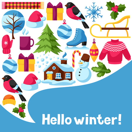 Hello winter background. Merry Christmas, Happy New Year holiday items and symbols.