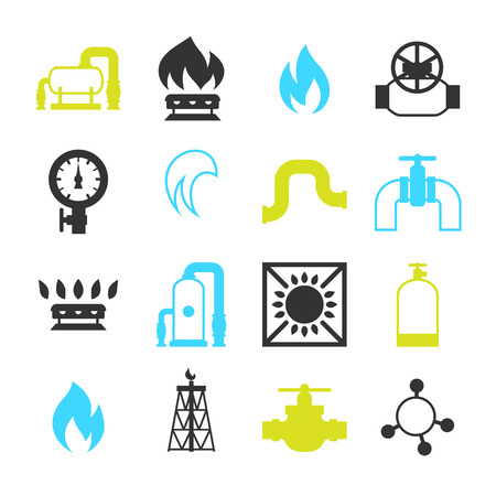 Natural gas production, injection and storage. Set of objects.