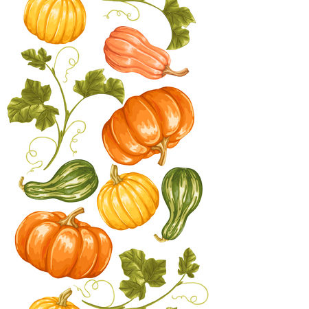leafage: Seamless border with pumpkins. Decorative ornament from vegetables and leaves.
