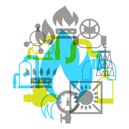 Natural gas production, injection and storage. Industrial background design. Illustration