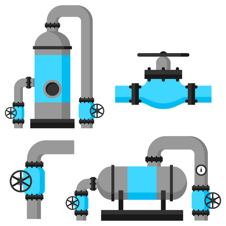 exchanger: Natural gas heat exchanger, control valves and storage. Set of equipment.