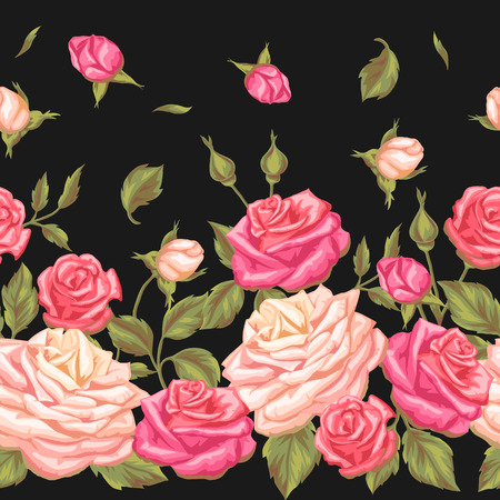Seamless pattern with vintage roses. Decorative retro flowers. Easy to use for backdrop, textile, wrapping paper, wallpaper. Illustration