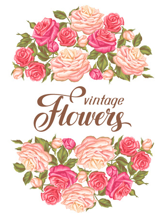 vintage roses: Invitation card with vintage roses. Decorative retro flowers. Image for wedding invitations, romantic cards, posters. Illustration