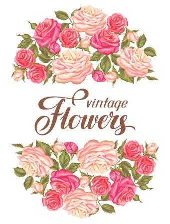 Tarjeta de invitación con las rosas de la vendimia. retro flores decorativas. Imagen para las invitaciones de boda, tarjetas románticas, pósters. Foto de archivo - 61858205