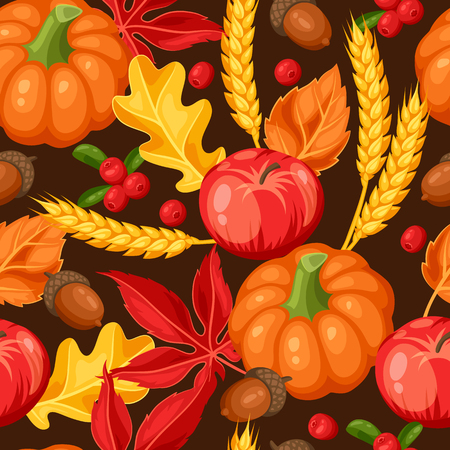 seamless texture: Thanksgiving Day or autumn seamless pattern. Ornament with vegetables and leaves.