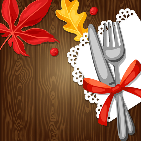 knife: Thanksgiving Day greeting card. Background with cutlery and autumn leaves.