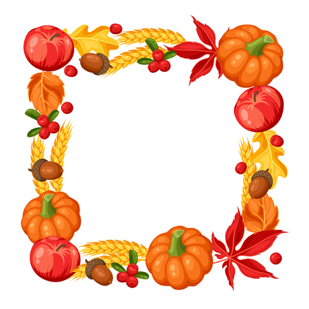 oak wreath: Thanksgiving Day or autumn frame. Decorative element with vegetables and leaves. Illustration