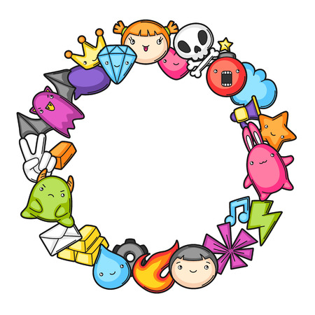 Game  frame. Cute gaming design elements, objects and symbols.