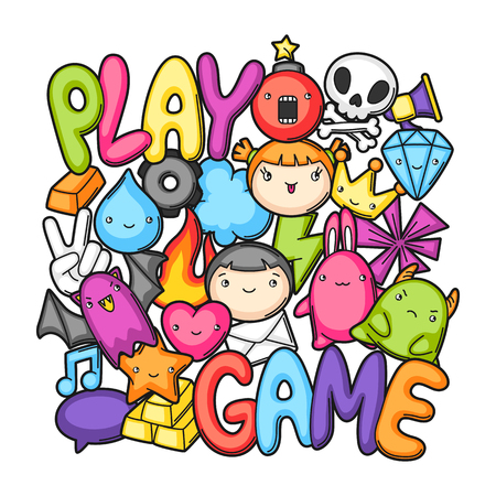 Game kawaii print. Cute gaming design elements, objects and symbols.