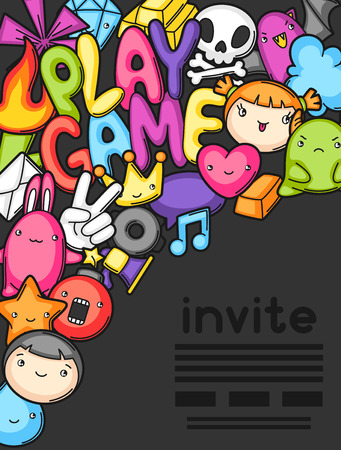 party design: Game kawaii invite. Cute gaming design elements, objects and symbols. Illustration