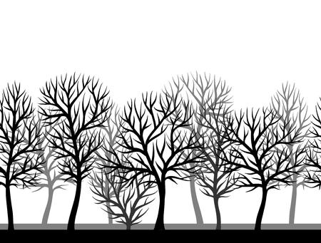 Modelo inconsútil con los árboles estilizados abstractos. La visión natural de siluetas negras.