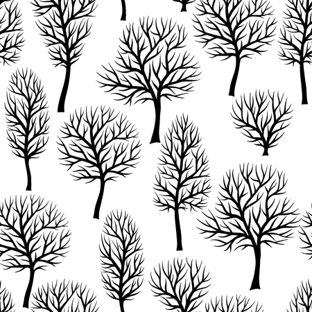 black and white leaf: Seamless pattern with abstract stylized trees. Natural view of black silhouettes.