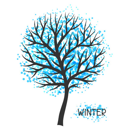 abstract tree: Background with winter tree. Illustration of silhouette and abstract spots.