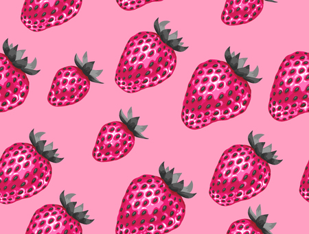 Abstract seamless pattern with strawberries in a pop art style.