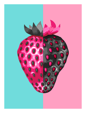 ripe: Abstract poster with strawberries in a pop art style.