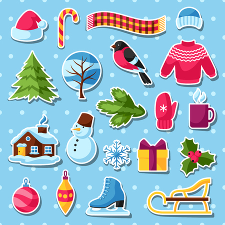 Set Of Winter Stickers Merry Christmas Happy New Year Holiday