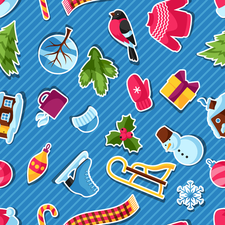 sueter: Seamless pattern with winter stickers. Merry Christmas, Happy New Year holiday items and symbols. Vectores