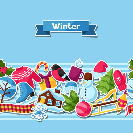 Seamless pattern with winter stickers. Merry Christmas, Happy New Year holiday items and symbols. Illustration