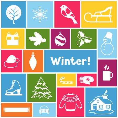 겨울 개체와 배경입니다. 메리 크리스마스, 해피 뉴가 어 휴가 항목 및 기호.