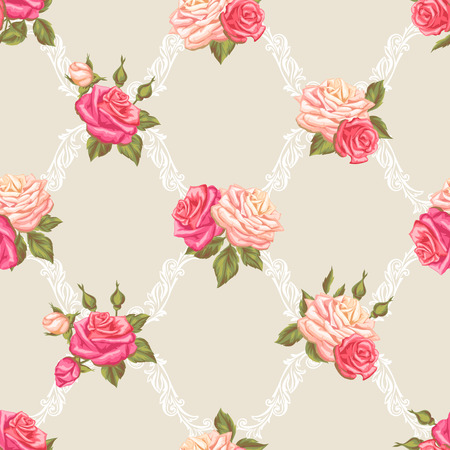 decorative wallpaper: Seamless pattern with vintage roses. Decorative retro flowers. Easy to use for backdrop, textile, wrapping paper, wallpaper. Illustration