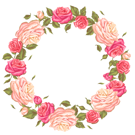 Frame with vintage roses. Decorative retro flowers. Image for wedding invitations, romantic cards, booklets.