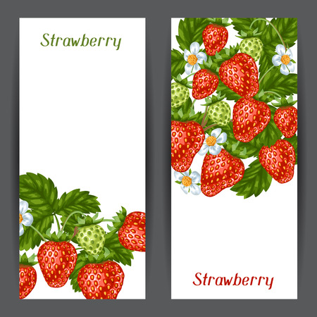 red berries: Banners with red strawberries. Illustration of berries and leaves.