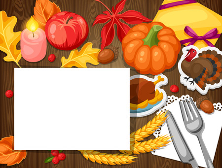 knife fork: Thanksgiving Day greeting card. Background with autumn and holiday objects.