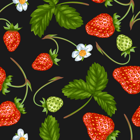 Seamless pattern with red strawberries. Decorative berries and leaves. Illustration