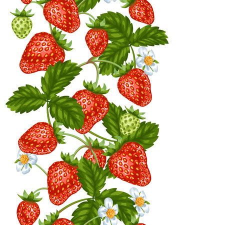red berries: Seamless pattern with red strawberries. Decorative berries and leaves. Illustration