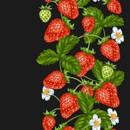 Seamless avec des fraises rouges. baies et de feuilles décoratives.