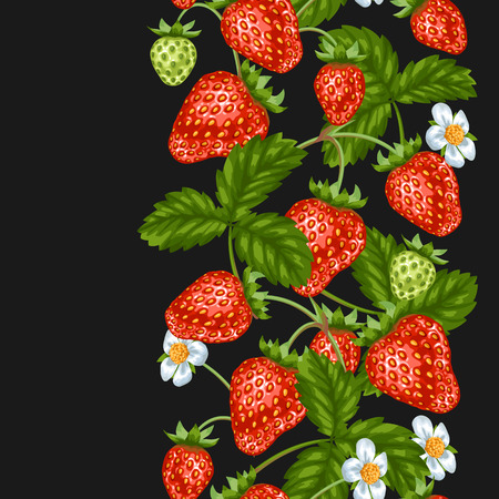 wrappers: Seamless pattern with red strawberries. Decorative berries and leaves. Illustration
