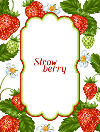red berries: Frame with red strawberries. Decorative berries and leaves.