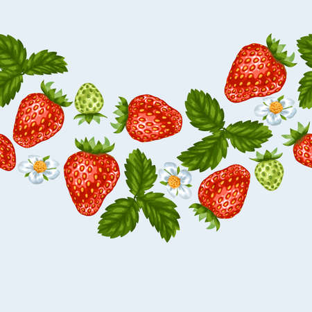 red berries: Seamless pattern with red strawberries. Decorative berries and leaves. Stock Photo