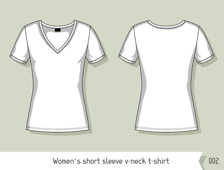 tshirts: Women short sleeve v-neck t-shirt Template for design, easily editable by layers.