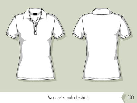 by the collar: Women polo t-shirt. Template for design, easily editable by layers.
