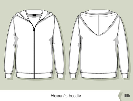 zipper hooded sweatshirt: Women hoodie. Template for design, easily editable by layers. Illustration